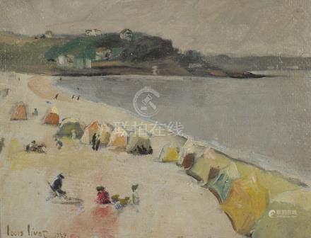 Louis LIVET (XXème siècle).    Plage et tentes. (Probablement la Normandie).
