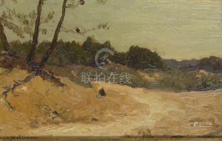 André MATIGNON (XIXème - XXème siècle).    Paysage.    Huile sur carton, signée