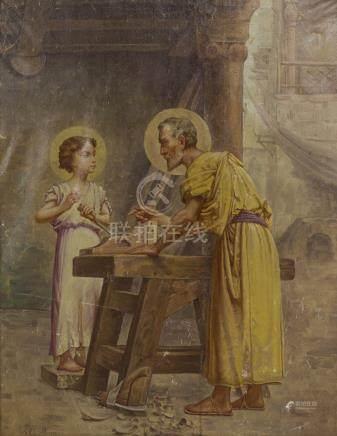 J. B. NAMUR (XIXème siècle - XXème siècle).    Joseph et Jésus charpentiers.