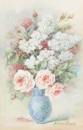 Madeleine RENAUD (1990-1994).    Bouquet de fleurs au vase bleu.    Aquarelle e