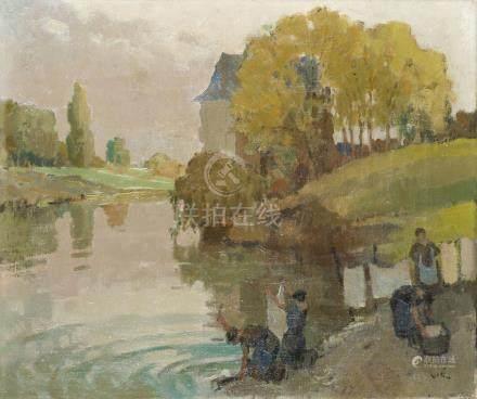 Gabriel VIÉ (1888-1973).    Les lavandières.    Huile sur toile, signée en bas