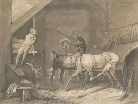 - Lot de DEUX GRAVURES sur le cheval d'après Carle VERNET:    Le palefrenier s