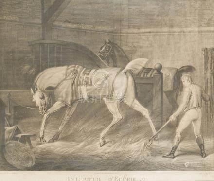 - Lot de DEUX GRAVURES sur le cheval d'après Carle VERNET:    Intérieur d'écur