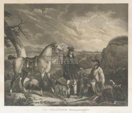 - LOT de DEUX GRAVURES sur le cheval:     D'après KEPFER. Le chasseur maladroi