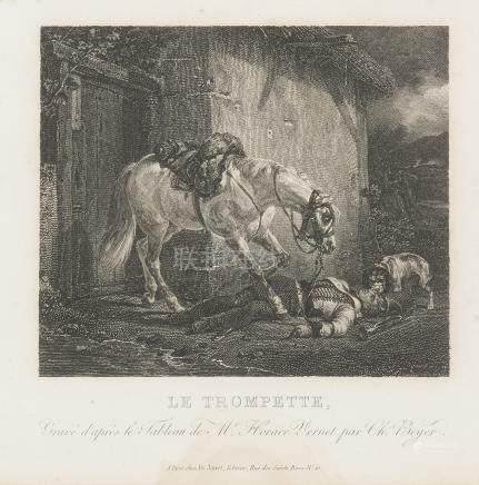 - LOT de QUATRE GRAVURES sur le cheval:    D'après Horace VERNET. Le trompette