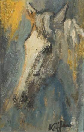 KEFFER.    Tête de cheval.    Huile sur carton, signée en bas à droite.    21,5