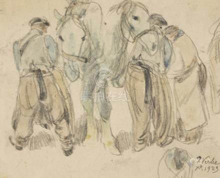 VERLIE (?).    Chevaux et paysans.    Dessin au crayon et aquarelle, signé en b