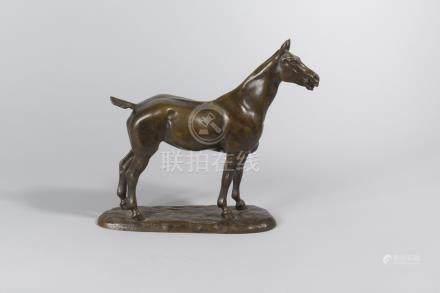 Gaston d'ILLIERS (1876-1932).    «Miss», cheval à l'arrêt.    Épreuve en bron