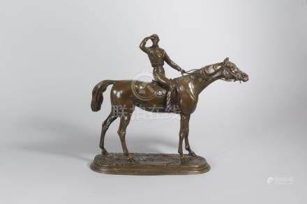 Jules MOIGNIEZ (1835-1894).    Avant la course.    Épreuve en bronze à patine m