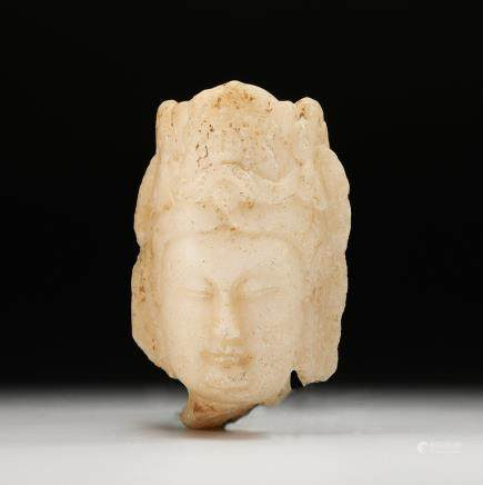 CHINESE WHITE MARBLE HEAD OF GUANYIN
