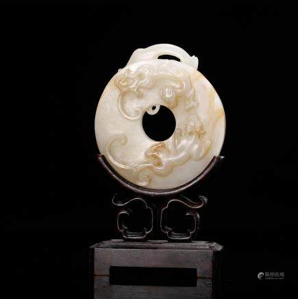 CHINESE WHITE JADE CHILONG BI WITH STAND