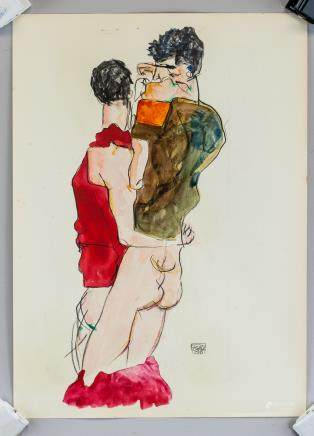 Egon Schiele Austrian Mixed Media 1913