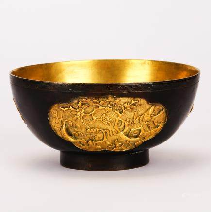 CHINESE GILT BRONZE FOLIAGE BOWL