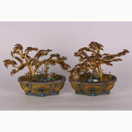 CHINESE PAIR OF GILT SILVER WIRE PLANTERS