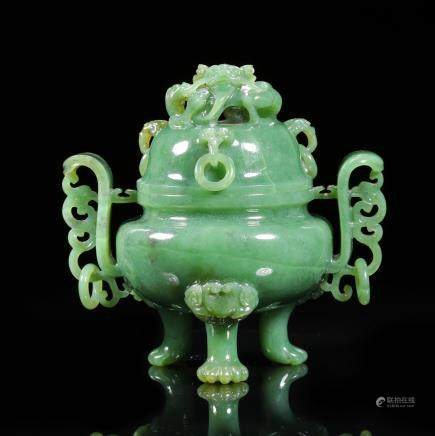 CHINESE SPINACH JADE CARVED COVER CENSER