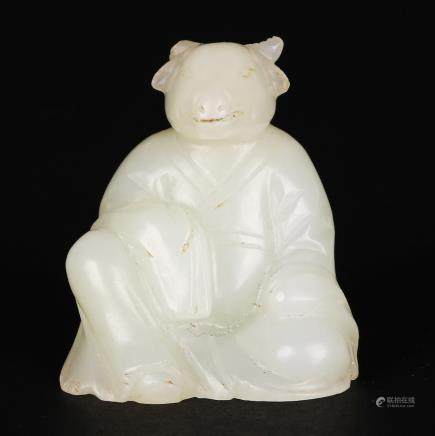 CHINESE WHITE JADE CARVED SHEEP ZODIAC FIGURE