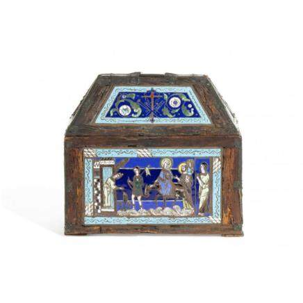 A French Gothic style enamel table casket