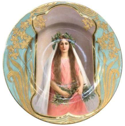 Exceptional Antique Hand-Painted Royal Vienna Porcelain Plate by Wagner