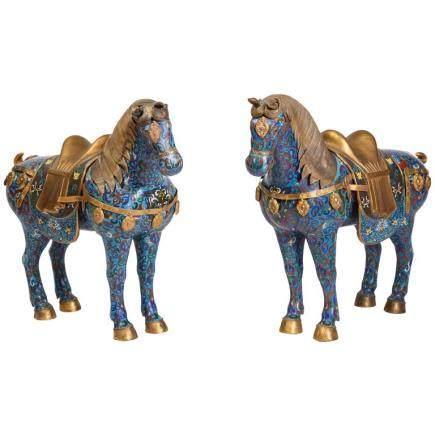 Large Pair of Chinese Cloisonné Enamel Horses