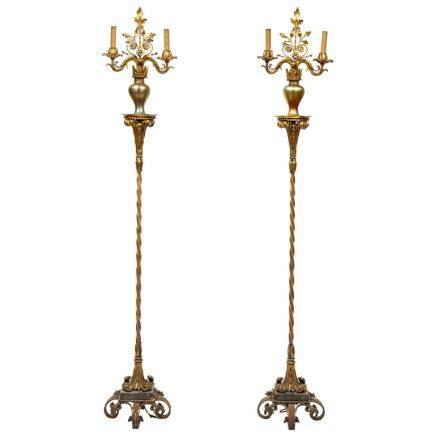 Art Deco Oscar Bach Iron, Enamel & Iridescent Glass Floor Lamps Torcheres, Pair