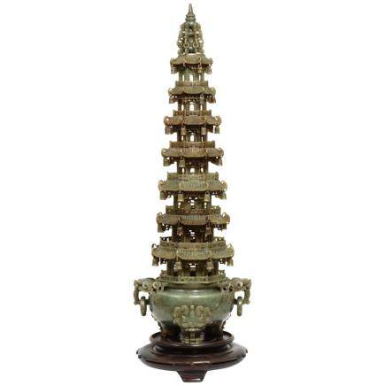Monumental Chinese Green Translucen Jade Carved Pagoda Censer, Late 19th Century