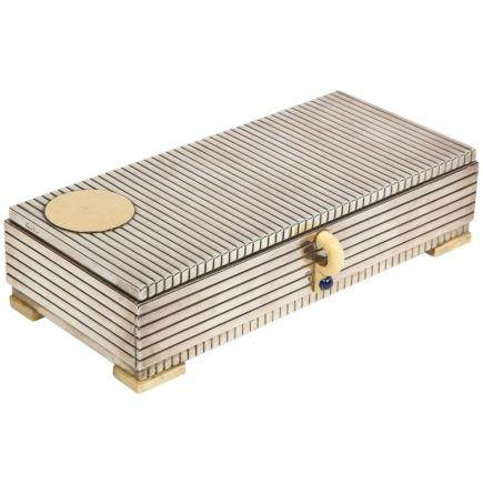 French Art Deco Sterling Silver, Gold & Lapis Smoking Box with Ashtray & Lighter