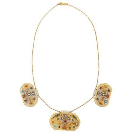 18-Karat Gold and White Jade Indian Mughal Necklace with Semi-Precious Stones