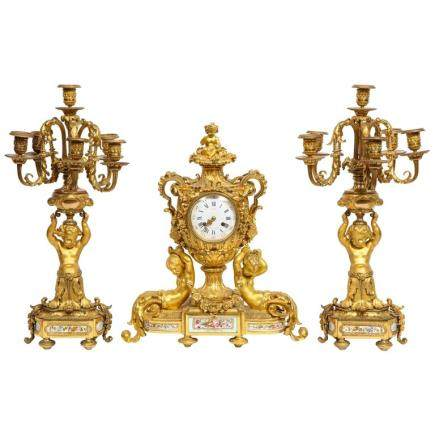 Exceptional French Ormolu-Mounted Porcelain Three-Piece Clock Garniture Set