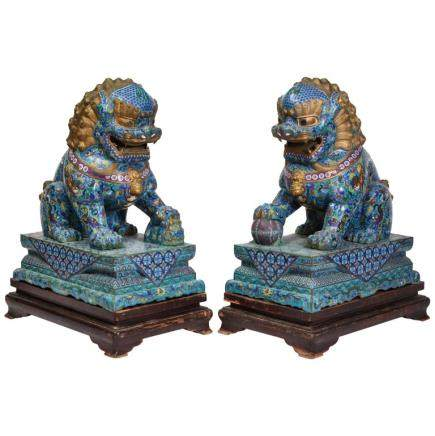 Massive Pair of Chinese Cloisonne Enamel Foo Dogs Lions on Wood Stands