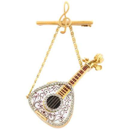 18 Karat Gold Enamel and Diamond Mandolin Pendant Watch Brooch G. Ferrero