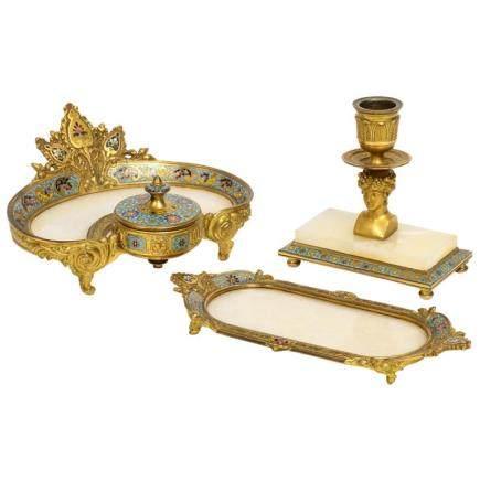 French Ormolu Bronze, Onyx, and Champleve Cloisonne Enamel Desk Set, Inkwell