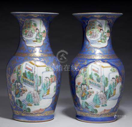 A PAIR OF CHINESE BLUE AND GILT GROUND FAMILLE VERTE VASES, QING DYNASTY, 19TH C with lightly