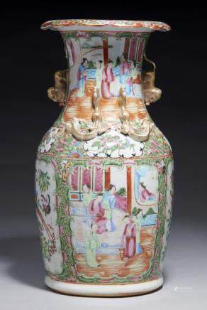 A CANTON FAMILLE ROSE VASE, MID 19TH C typically decorated, gilt chilong and dog of Fo handles, 36cm
