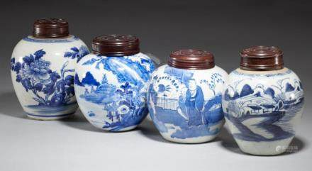 FOUR CHINESE BLUE AND WHITE JARS, THREE QING DYNASTY, 19TH C ONE LATER 13cm h and c++Good condition