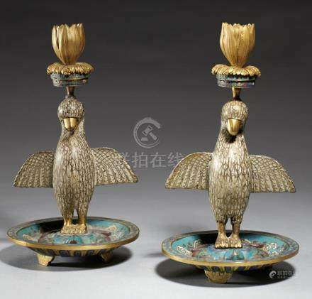 A PAIR OF CHINESE CLOISONNE ENAMEL BIRD AND TORTOISE CANDLESTICKS, QING DYNASTY, QIANLONG PERIOD