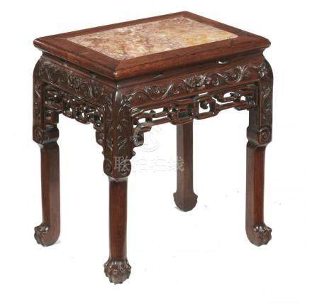 A CHINESE HONGMU STAND, QING DYNASTY, LATE 19TH C with oblong stone inset top and carved with