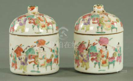 A pair of Chinese lidded pots and covers, early 20th century,