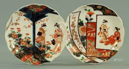 A pair of Japanese dishes, circa 1880, each decorated with two bijin,
