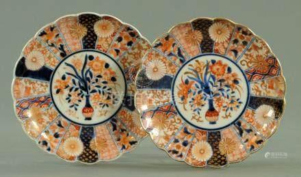 A pair of Japanese scalloped plates, circa 1880,