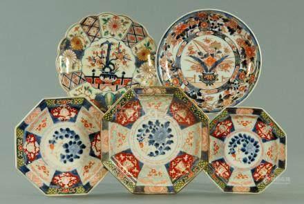Three Japanese octagonal dishes, 19th century,