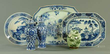 A Japanese blue and white dished plate, 19th century,
