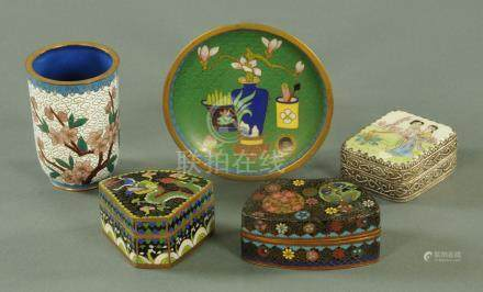 Two cloisonne lidded boxes,