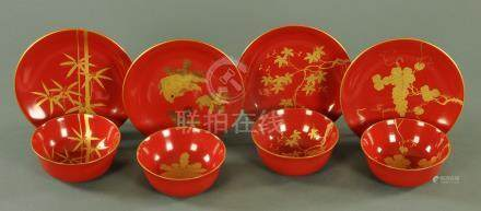 A set of four Japanese lacquer bowls and matching side dishes, 20th century,
