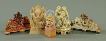 Four Chinese hand carved soap stones, 20th century, to include a seal,