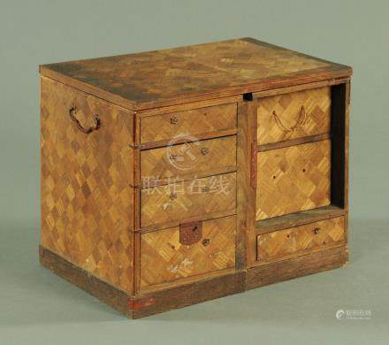 A Japanese marquetry table top cabinet, late 19th century,