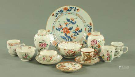 Assorted 18th century Chinese porcelain, to include an Imari pattern plate, two tea caddies,