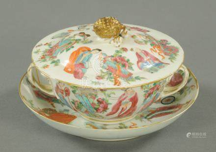 A Chinese Famille Rose two handled broth bowl, cover and matching dished plate,