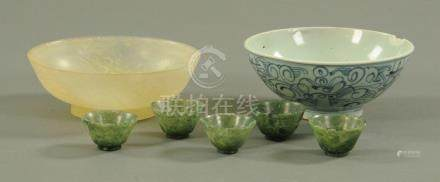 Five spinach green bowenite cups, early 20th century,