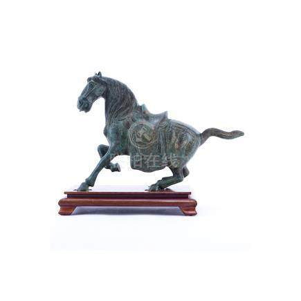 Chinese Tang Dynasty Style Patinated Bronze Model of a Horse on Wooden Stand. Rubbing to surface, s
