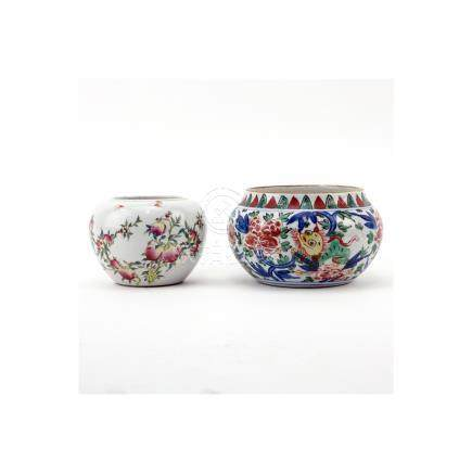 Grouping of Two (2) Chinese Porcelain Tableware. Includes: Wucai style jar and jar with pomegranate